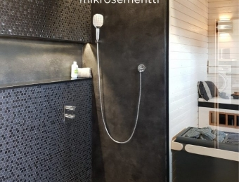 Novacolor Wall2Floor - mikrosementti kylpyhuoneessa musta patina