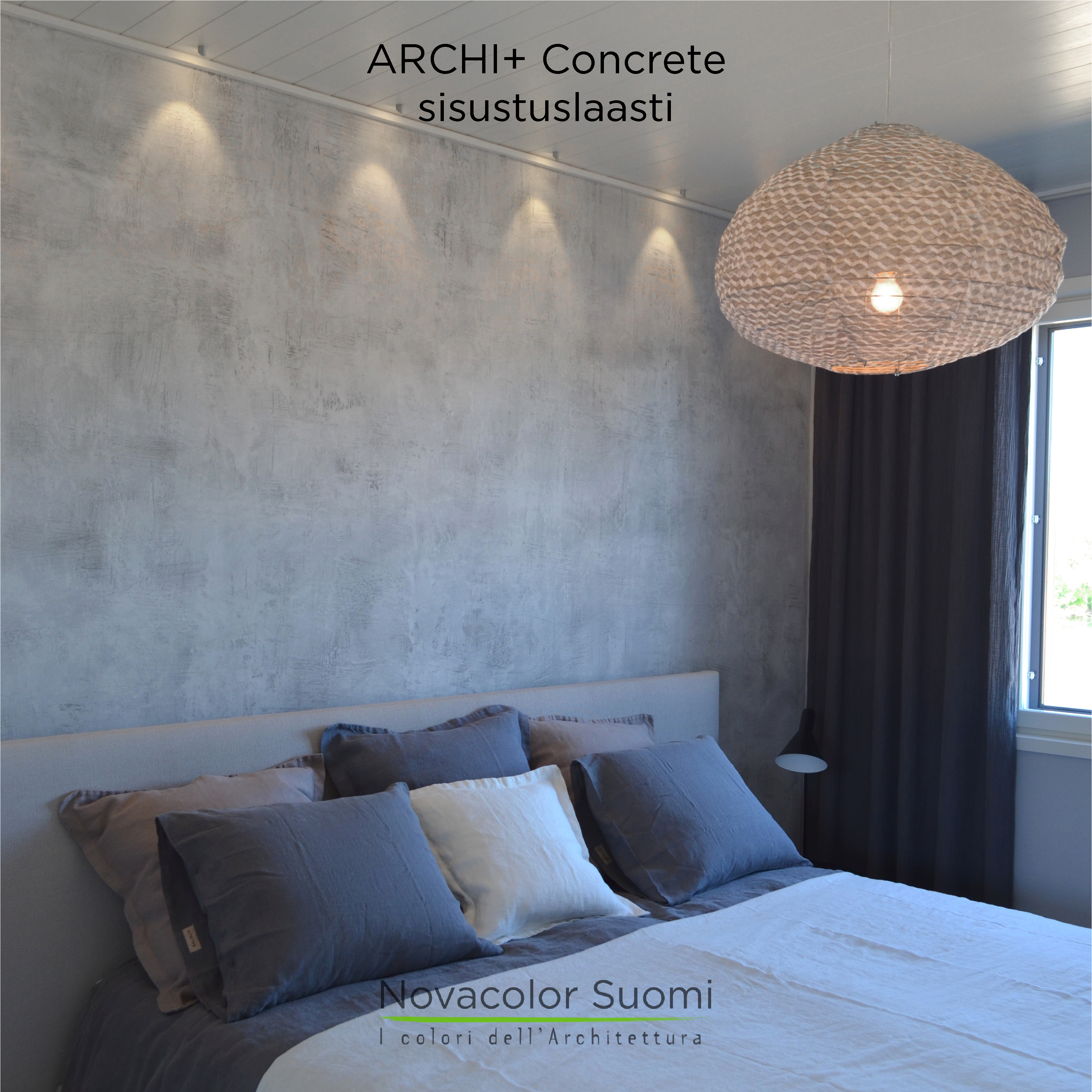 2014 Holiday Housing Fair in Kalajoki, Finland - Bedroom wall made by Novacolor Archi+Concrete (AP6101) NS