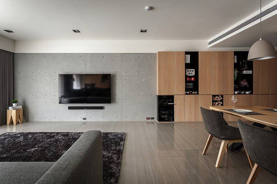 Novacolor Archi+ Concrete -sisustuslaasti, olohuone, muottikuvio