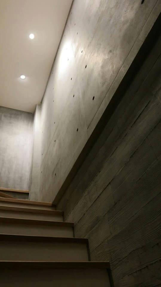 Novacolor Archi+ Concrete -sisustuslaasti, portaikko, muottikuvio, lautakuvio