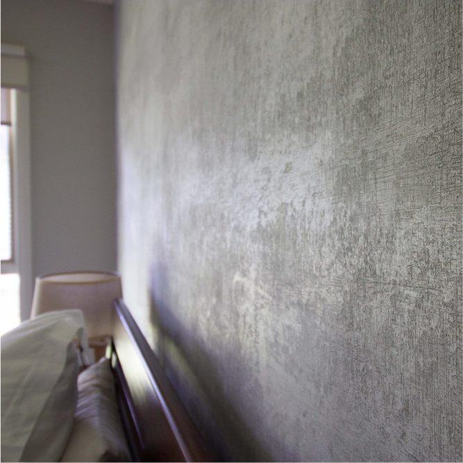 Novacolor Archi+ Concrete -sisustuslaasti, makuuhuone