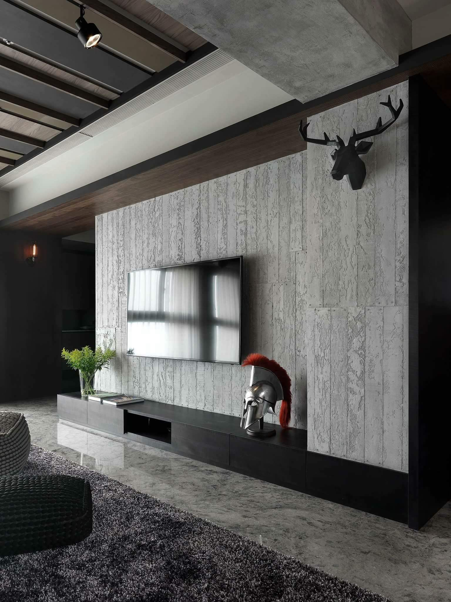 Novacolor Archi+ Concrete -sisustuslaasti, olohuone televisioseinä