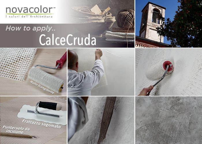 Novacolor CALCECRUDA -sisustuslaasti asennusvaiheet