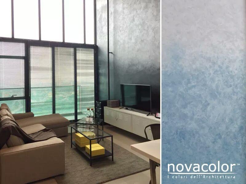 Novacolor Dune - sisustusmaali liukuväri, sininen - vaalea, olohuone